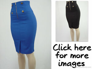 SEXY-KNEE-LENGTH-HIGH-WAIST-PENCIL-SKIRT-WITH-ZIPPER-AND-4-BUTTONS-IN-THE-FRONT