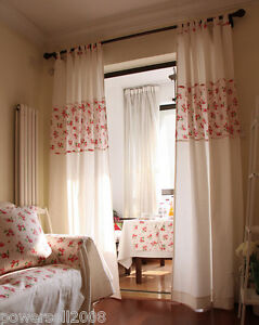 Fresh-Country-style-Cotton-Fluid-Strap-type-Strawberry-2-8m-x-2-5m-Two-Curtain