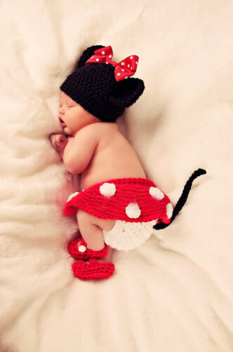 Cute Baby Infant Mouse Costume Photo Photography Prop 0-6 months Newborn Red