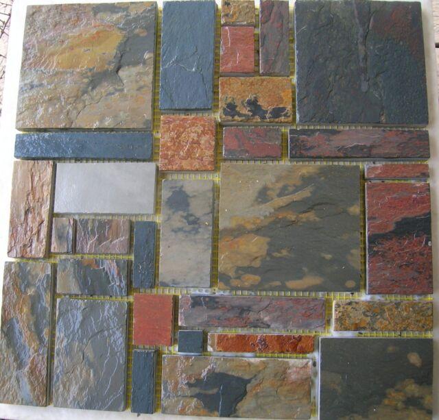 SLATE Stone MOSAIC RANDOM TILES Kitchen Backsplash FREE PRIORITY SHIPPING