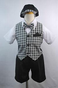 Boy Infant & Toddler Formal Wedding Party Vest Suit New born to 4T Black n White