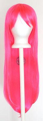 32'' Long Straight Long Bangs Hot Pink Cosplay Wig NEW