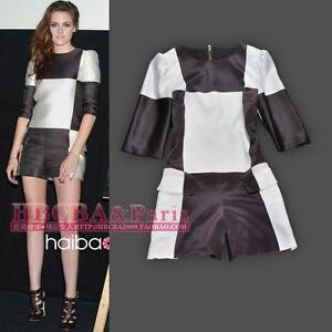 Kristen-Stewart-Fashion-Lattice-Silk-Romper-Color-Brown-With-White-Size-S-M-L