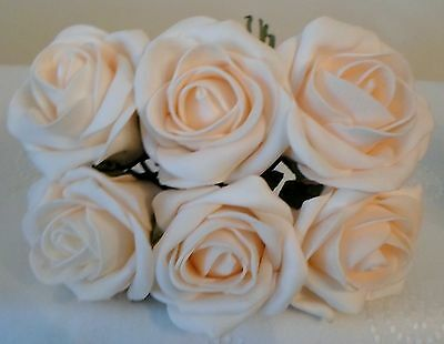 6 COLOURFAST FOAM ROSES- 6CM - 14 COLOURS - WEDDING/ARTIFICIAL FLOWERS/CRAFT