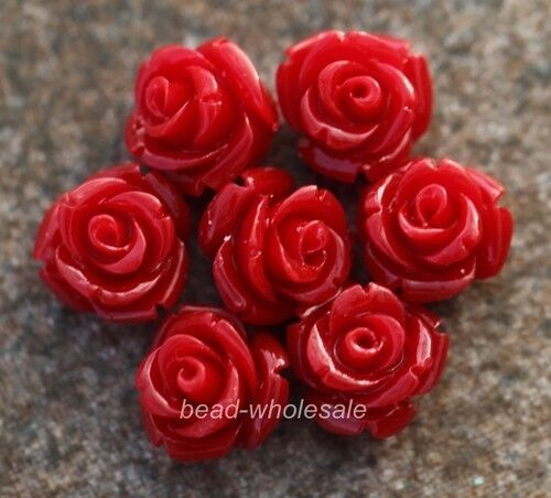 10Colors 20pcs Cabochon Resin Rose Flower Spacer Beads10mm