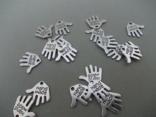 L23 HANDMADE OR SAFETY PIN, TIBETAN ANTIQUE SILVER METAL CHARMS,MADE WITH LOVE
