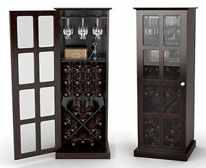 24 bottle wine storage rack cabinet w glass door for 16 bottle wine cabinet with glass door espresso