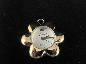 Y-Me-QUARTZ-WATCH-PENDANT-SILVER-IN-COLOR-FLOWER-SHAPED-VERY-UNIQUE-amp-NICE