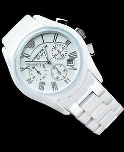 nwt 545 emporio armani s chronograph white ceramic