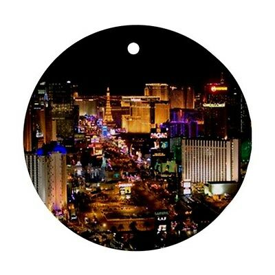 Las Vegas Strip at Night Round Porcelain Christmas Ornament