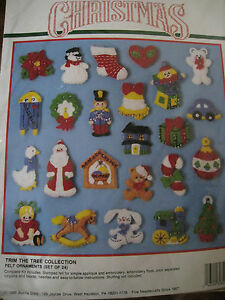 Bucilla FELT Applique Christmas Tree ORNAMENT KIT,TRIM THE TREE COLLECTION,82840