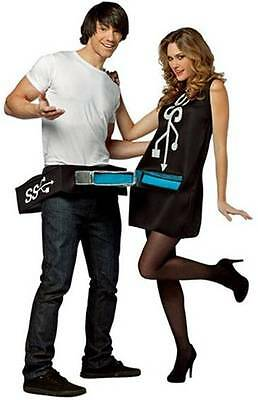 USB Port & Stick Couples Funny Comic Dress Up Halloween Adult Costume 2 COSTUMES