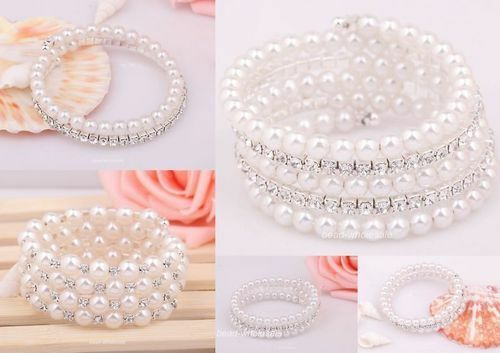 1pc Women Silver Crystal Rhinestone Pearl Open Bangle Bracelet Fit Wedding Party