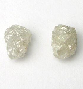 1 Carats 2 WHITE/SILVER Uncut Natural Rough Diamonds PAIR