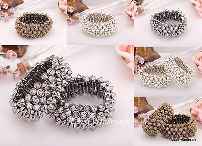 Fashion Bronze/Silver/NickelGothic Punk Rock Studs Spike Rivets Stretch Bracelet
