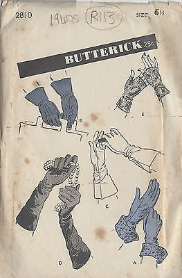 1940s Vintage Sewing Pattern GLOVES S6 1/2 (R113)