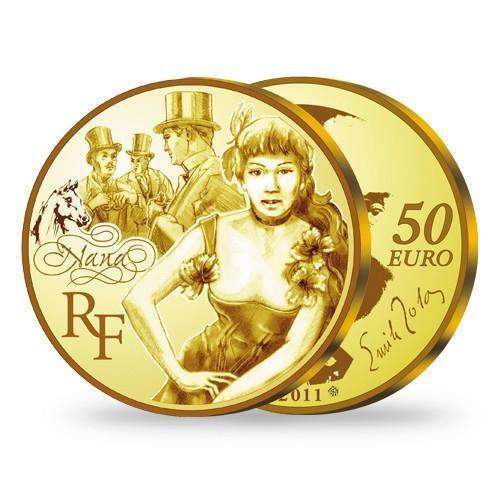 France 2011 50  EURO Nana - Emile Zola 1/4 Oz .920 Gold Coin LIMITED MINTAGE!!!