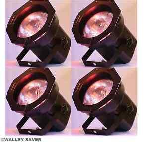 Lot-of-4-Complete-PAR-38-light-cans-with-BULBS-gel-frames-dj-stage-lighting