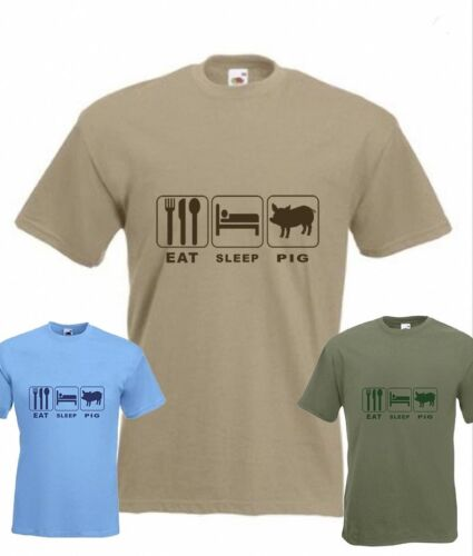 Eat Sleep Pig Funny T-shirt Pig Farm in all Sizes /& choice of colours