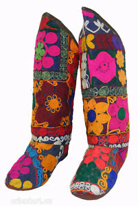 antik-Uzbek-afghanistan-orient-Suzani-Stiefel-schuhe-embroidered-shoes-Boot-s-A