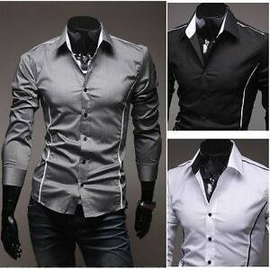 New-Men-039-s-Luxury-Casual-Long-sleeve-Stylish-Dress-Shirts-3-Colors-4-Size-Tops