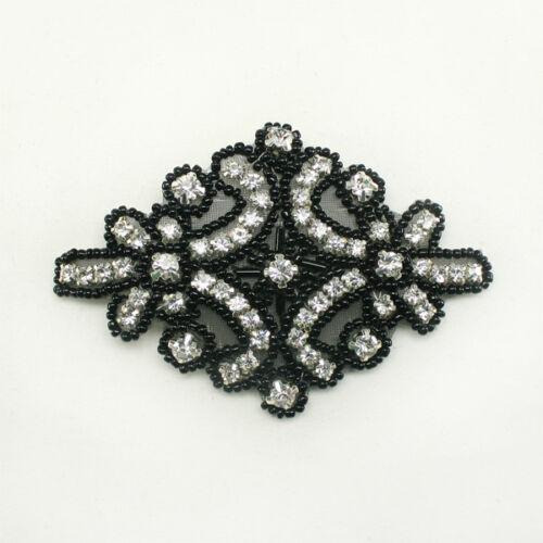 Rhinestone Crystal applique beaded Headband Hair Accessories Headpiece Motif #10