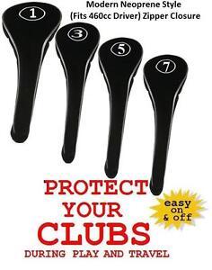BLACK-ZIPPER-GOLF-CLUB-Head-Covers-FULL-Complete-1-3-5-7-DRIVER-FAIRWAY-WOOD-Set