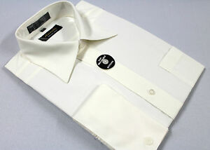 Mens French Cuff Dress Shirt Plain Off White WrinkleFree Cotton ...