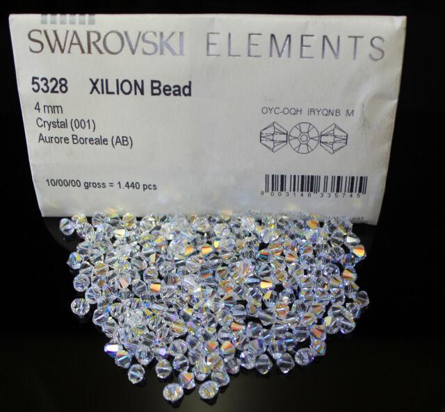 50 x Swarovski 5328 Xilion Clear AB 3mm Crystal Bicone Bead
