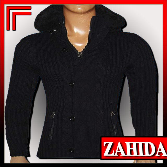 Maglione Nero Bianco maglione Felpa Con Cappuccio Da Uomo Caldo NUOVO
