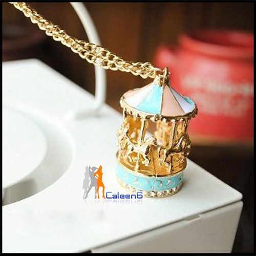 Carousel Horse Necklace Lady Gold Chin Woman Fashion Cut Sweater Chain