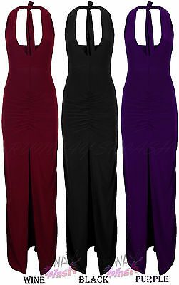 LADIES HALTERNECK LONG MAXI DRESS SPLIT FRONT PLAIN BODYCON SKIRT WOMENS SZ 8-14
