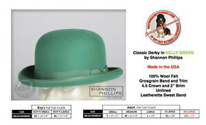 Shannon-Phillips-Kelly-GREEN-DERBY-Hat-Wool-Bowler-ALL-SIZES-New