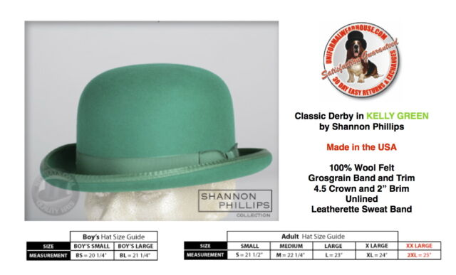 Shannon Phillips Kelly GREEN DERBY Hat Wool Bowler ALL SIZES New