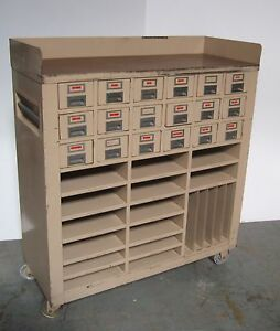 18 Drawers Tool Parts Storage Cabinet Industrial Wheels Rolling ...