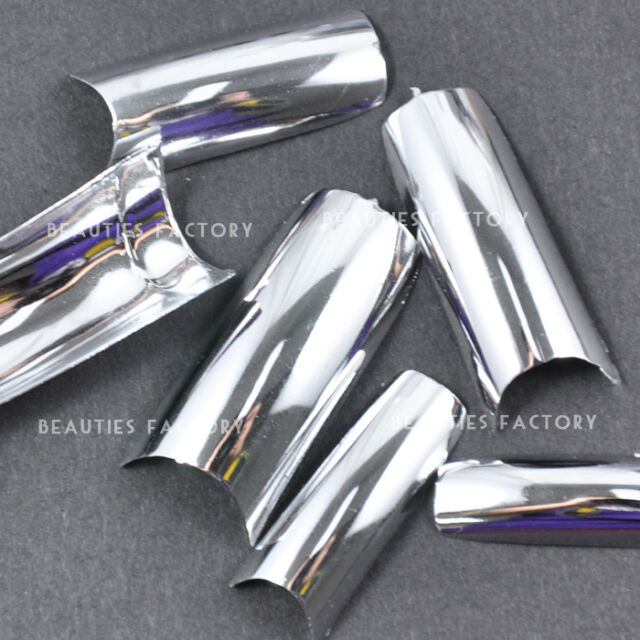 Chrome French Nail Art Tips 100pcs - Silver #S19Nails