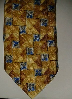 100% polyester yellow tie with blue flower print