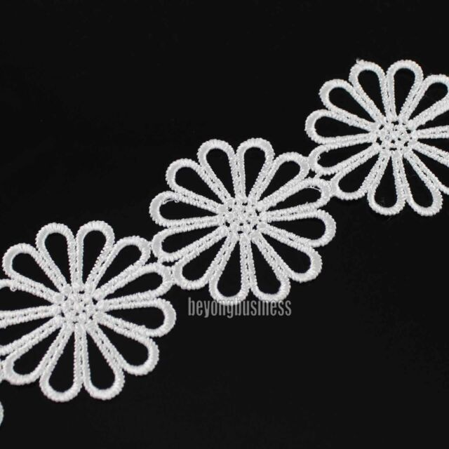 3yds Delicate Polyester Off White Flower Applique Venise Lace Craft Sewing Trims