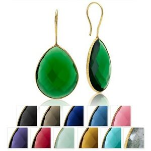 22K-Gold-Over-Silver-40-Carat-Quartz-Pear-Dangle-Earrings-Choice-of-12-Gemston