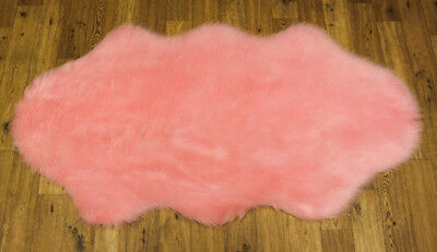 HIGH QUALITY SOFT FLUFFY PLAIN WASHABLE PINK COLOUR FAUX FUR SHEEPSKIN RUGS