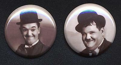 Laurel and Hardy black and white two Badge Button Pins