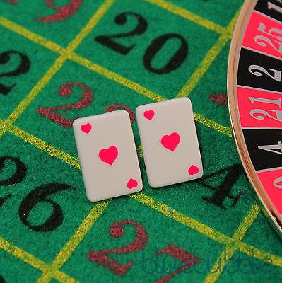 FUNKY CARD EARRINGS CUTE KITSCH RETRO LOVE ALICE WONDERLAND CASINO POKER STYLE