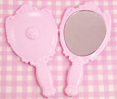 Cute Pink Princess Kawaii Handheld Mirror DIY Decoden Kawaii Kitsch - UK SELLER