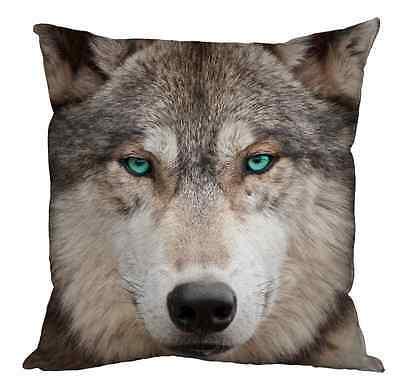 "WOLF FACE WITH BLUE EYES MODERN 18"" X 18"" CUSHION ANIMAL PRINT GREAT GIFT IDEA"