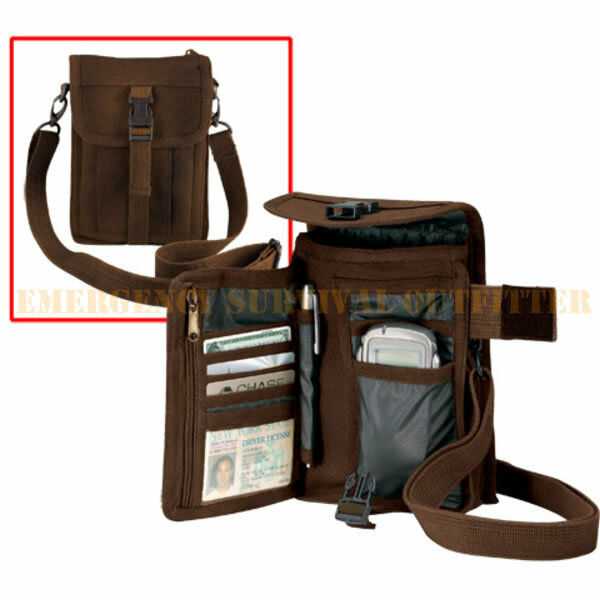 New Passport Pouch Travel Wallet Cell Phone Security Bag Earth Brown