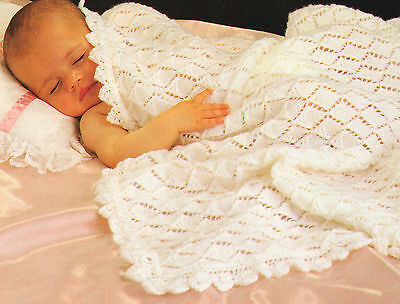 "Cosy Diamond Baby Shawl/Blanket Pretty Edging 40"" x 40"" 4 ply To Knit"