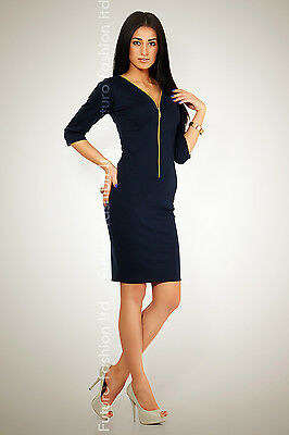 Elegant & Classic Dress Gold Zipper Office Styl Tunic V-Neck Size 8-16 K01