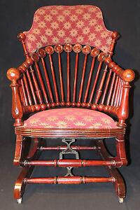 Wonderful-Antique-Hunzinger-Mahogany-034-Lollipop-034-Platform-Rocker-rocking-chair