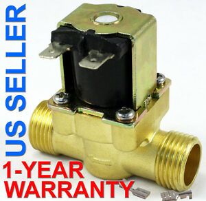 1/2 in 220V-240V AC Slim Brass Solenoid Valve NPS Gas Water Air Normally Closed