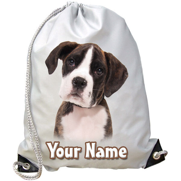 BOXER  DOG / PUPPY PERSONALISED GYM / SWIMMING / DANCE BAG - GREAT GIFT & NAMED